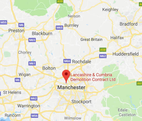map showing Lancashire & Cumbria Demolition Contractors Ltd's location in Salford, Manchester